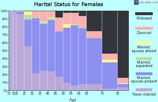 Zip code 55987 marital status for females