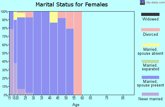 Zip code 58204 marital status for females