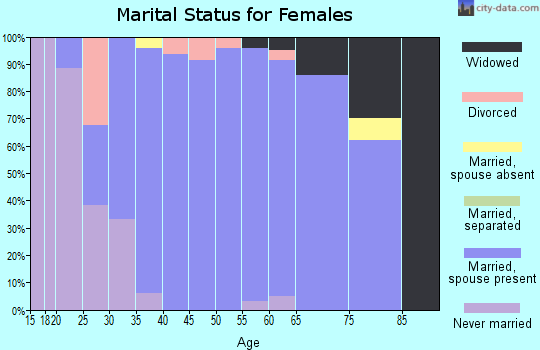 Zip code 58278 marital status for females