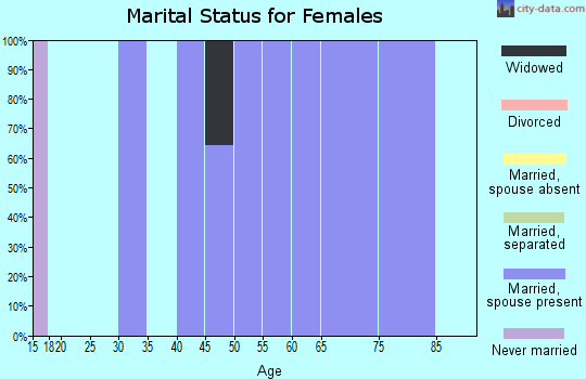 Zip code 58386 marital status for females