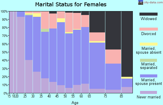Zip code 58504 marital status for females