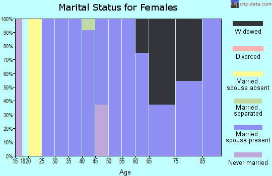Zip code 60029 marital status for females