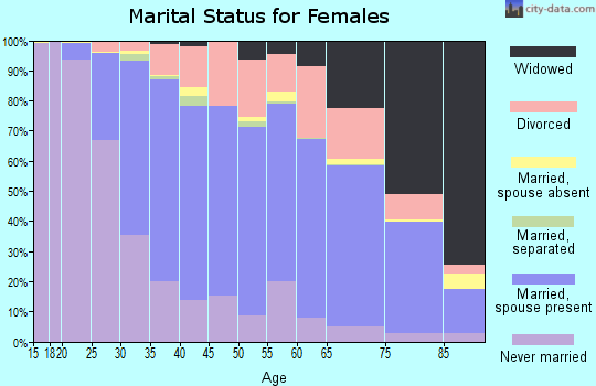 Zip code 60148 marital status for females