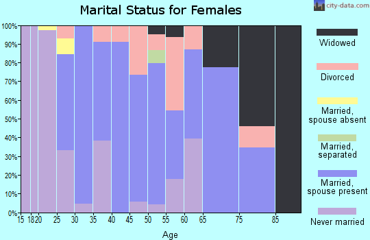 Zip code 60163 marital status for females