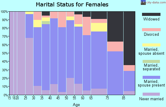Zip code 60305 marital status for females