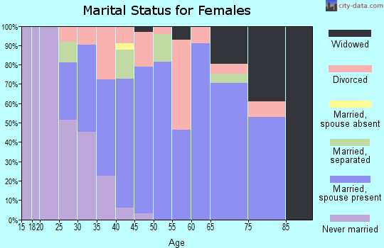 Zip code 60460 marital status for females