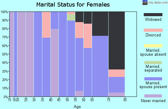 Zip code 60962 marital status for females