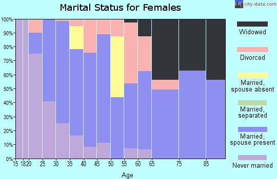 Zip code 61060 marital status for females