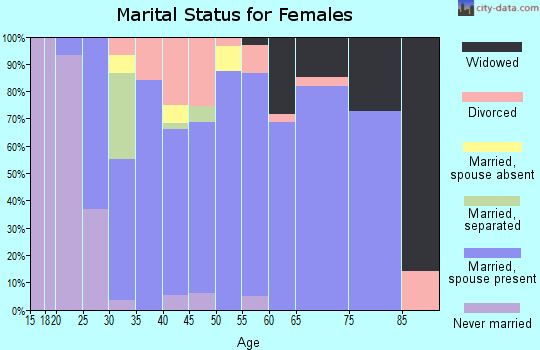 Zip code 61065 marital status for females