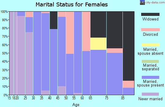 Zip code 61070 marital status for females