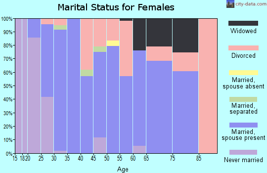 Zip code 61084 marital status for females