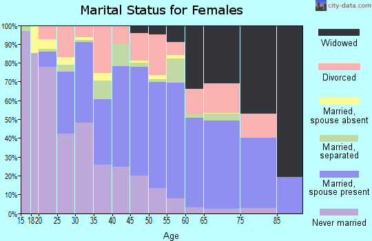 Zip code 61102 marital status for females