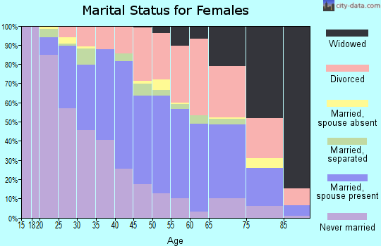 Zip code 61103 marital status for females