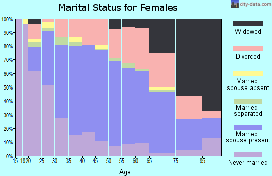 Zip code 61111 marital status for females
