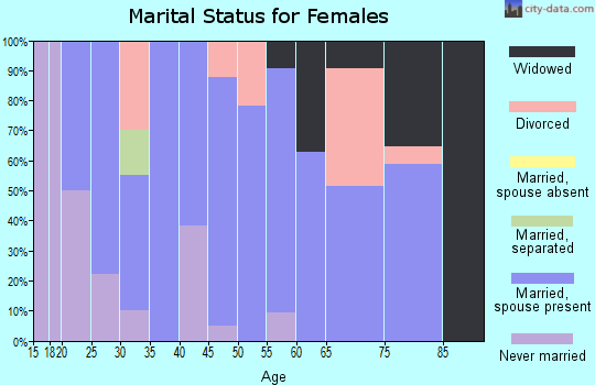Zip code 62611 marital status for females