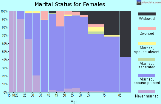 Zip code 63005 marital status for females
