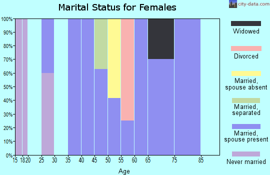 Zip code 63030 marital status for females
