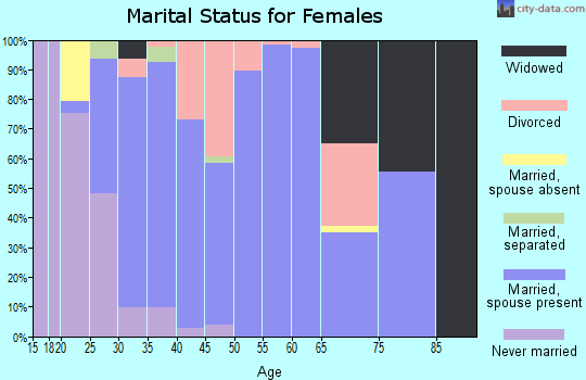 Zip code 63357 marital status for females