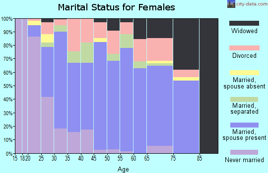 Zip code 63383 marital status for females