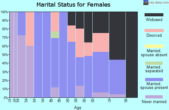 Zip code 63452 marital status for females