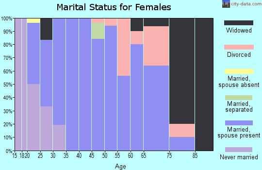 Zip code 63536 marital status for females