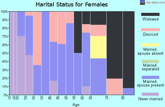 Zip code 63867 marital status for females