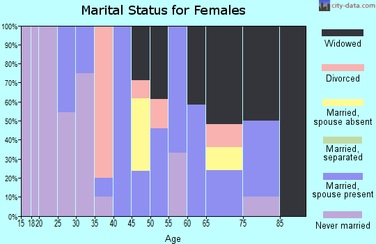 Zip code 63882 marital status for females
