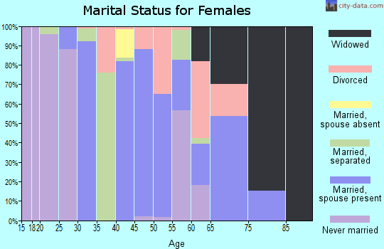 Zip code 63961 marital status for females