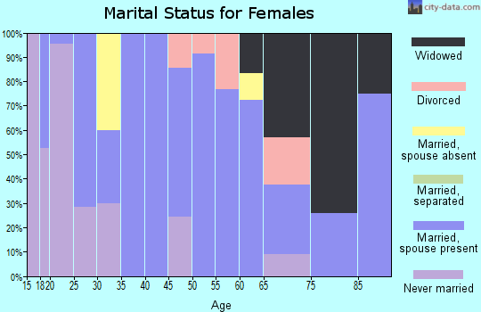 Zip code 65061 marital status for females