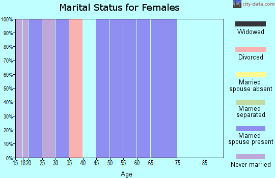 Zip code 65067 marital status for females