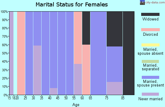 Zip code 72080 marital status for females