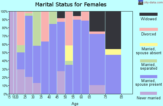 Zip code 72519 marital status for females