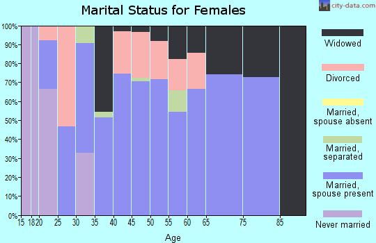 Zip code 72847 marital status for females