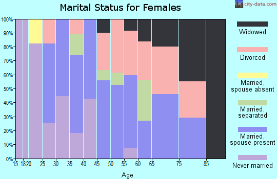 Zip code 73141 marital status for females