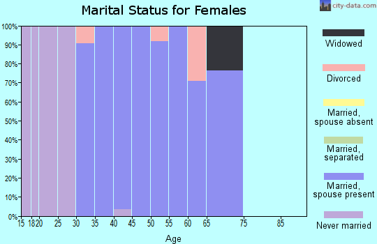 Zip code 73151 marital status for females