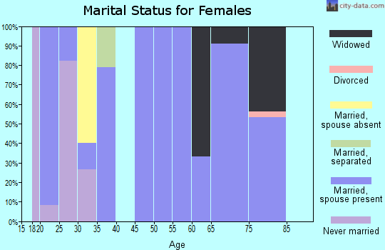 Zip code 77624 marital status for females