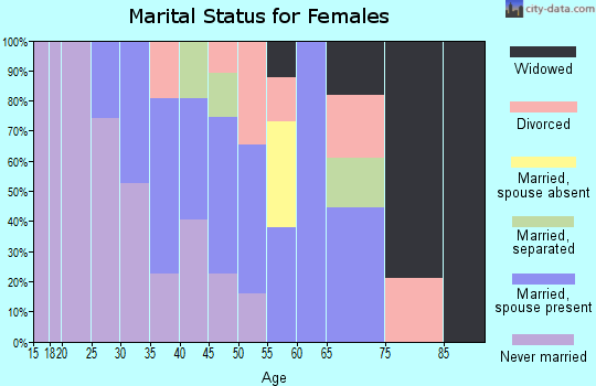 Zip code 77702 marital status for females