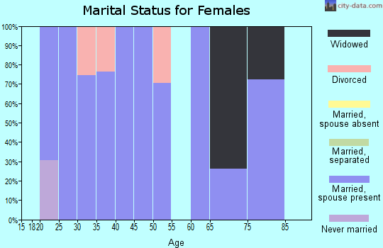 Zip code 77951 marital status for females