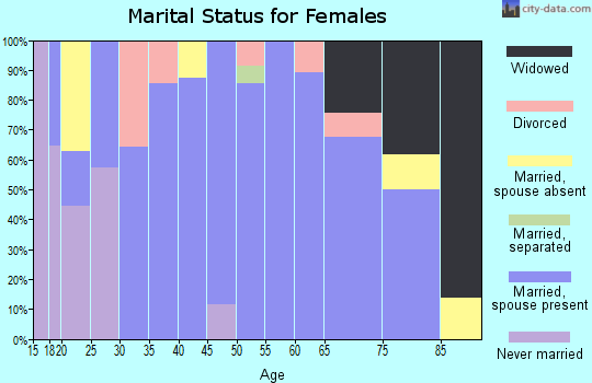 Zip code 81090 marital status for females