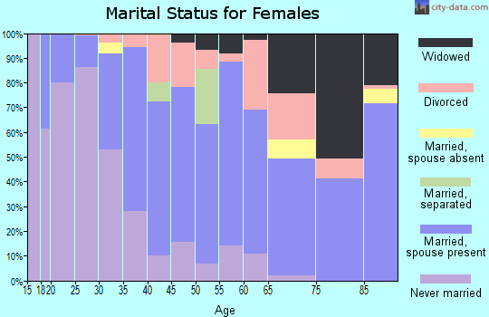 Zip code 83001 marital status for females