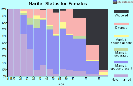 Zip code 91040 marital status for females