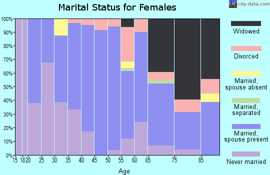 Zip code 91207 marital status for females