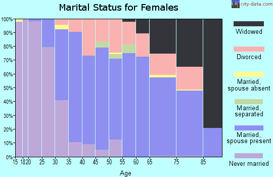 Zip code 91301 marital status for females