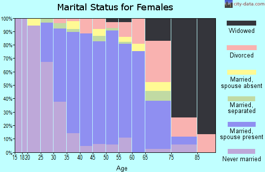 Zip code 91381 marital status for females