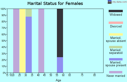 Zip code 92258 marital status for females