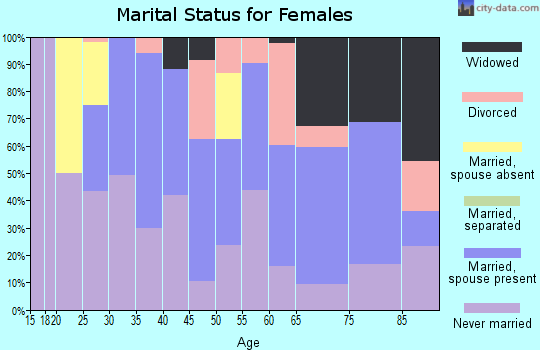 Zip code 92276 marital status for females