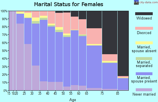 Zip code 93065 marital status for females