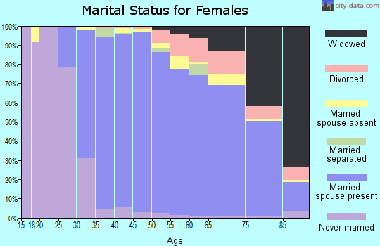 Zip code 95070 marital status for females