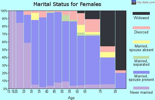 Zip code 95135 marital status for females