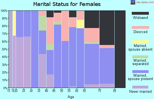 Zip code 95685 marital status for females